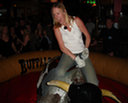 Donna on the bull at Buffalo Joes
